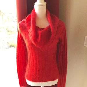 Classy red mohair cowl neck sweater